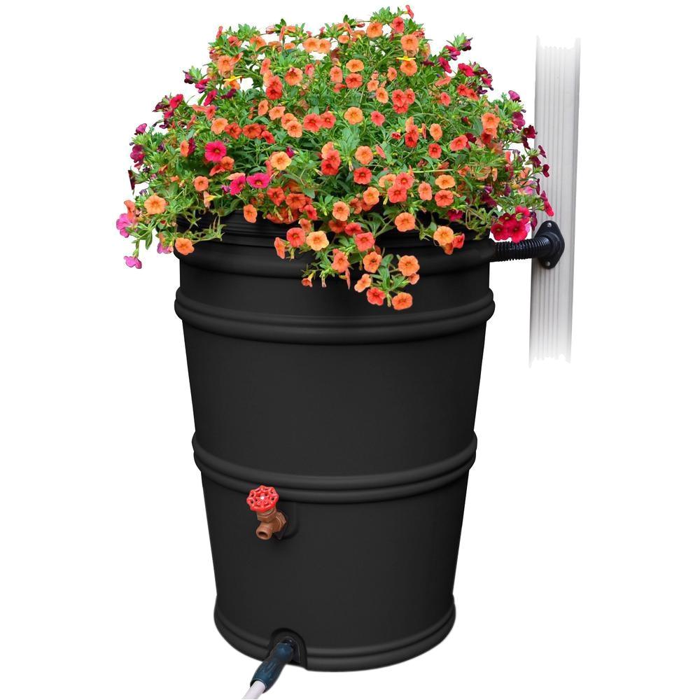 rainstation 45 gal recycled black rain barrel