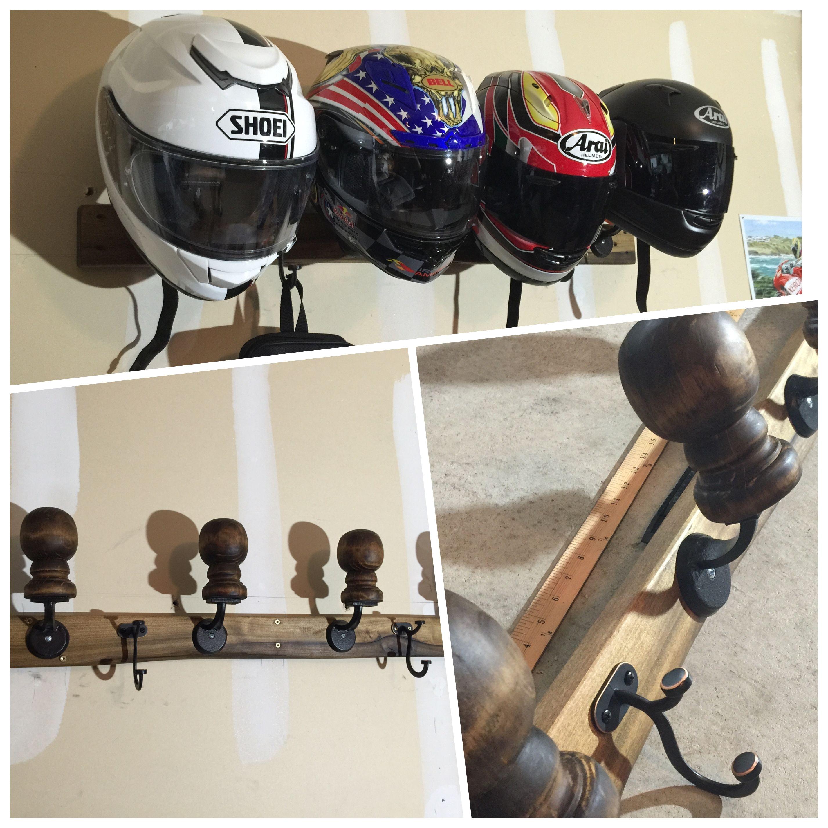 homemade motorcycle helmet rack organizers