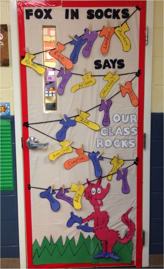 dr seuss fox in socks classroom door decoration fox in socks