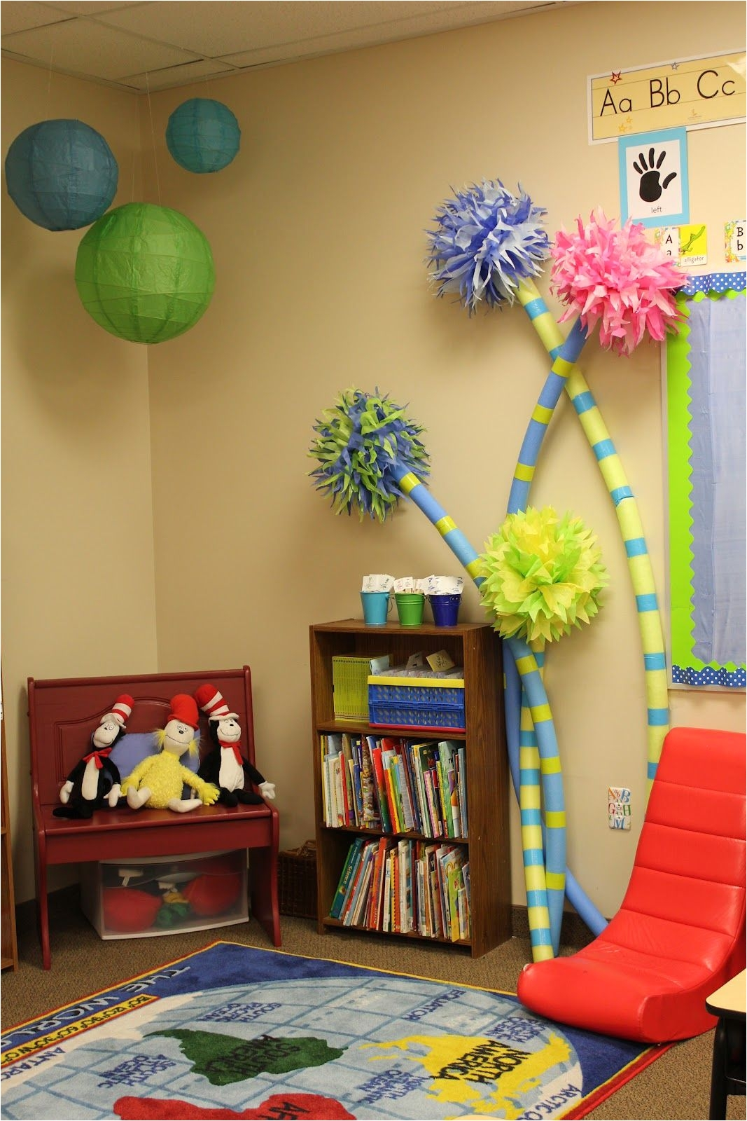 a dr seuss classroom complete with truffula trees made from pool noodles these would be great for a birthday party as well