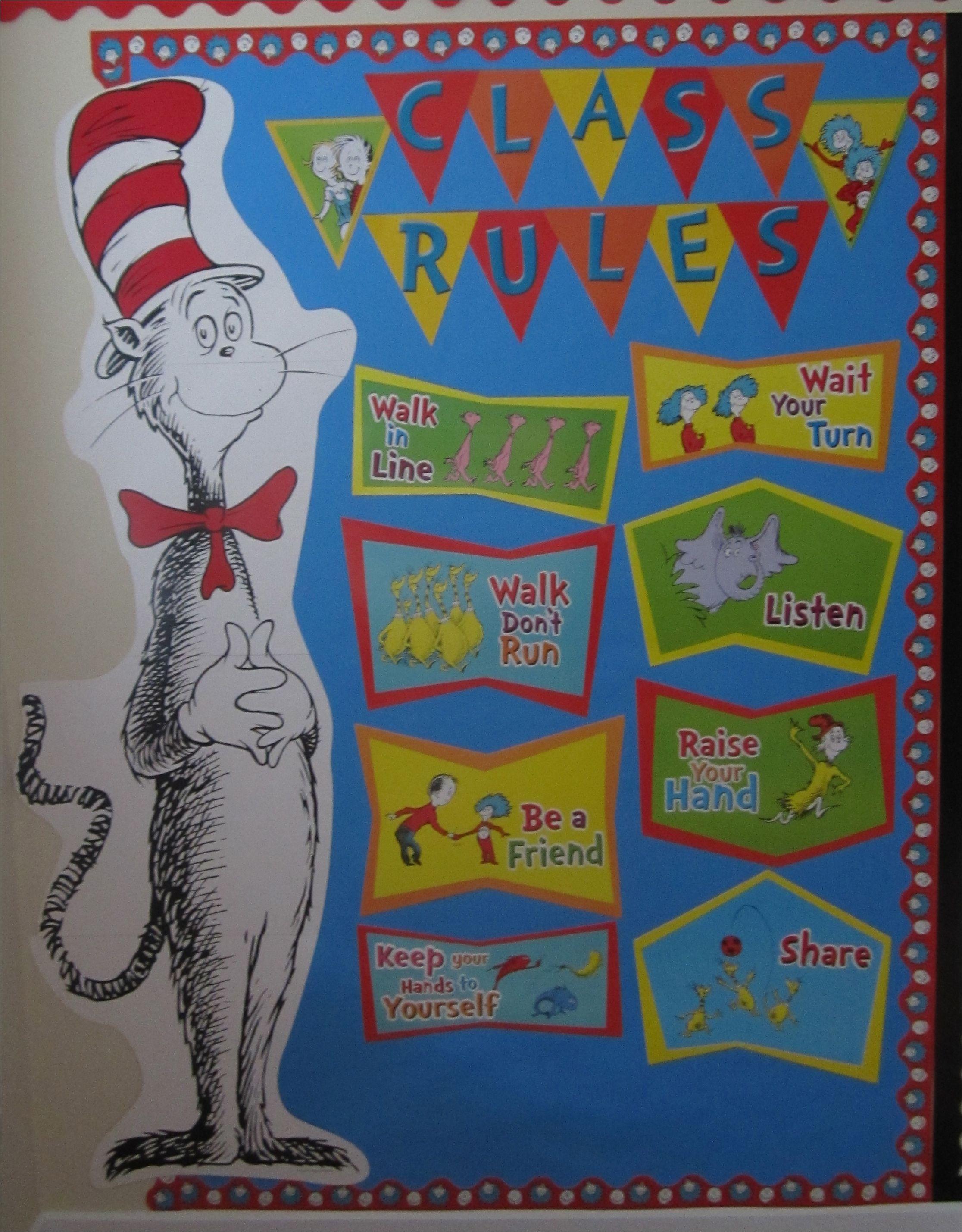 dr seuss class rules eureka cat in the hat bulletin board