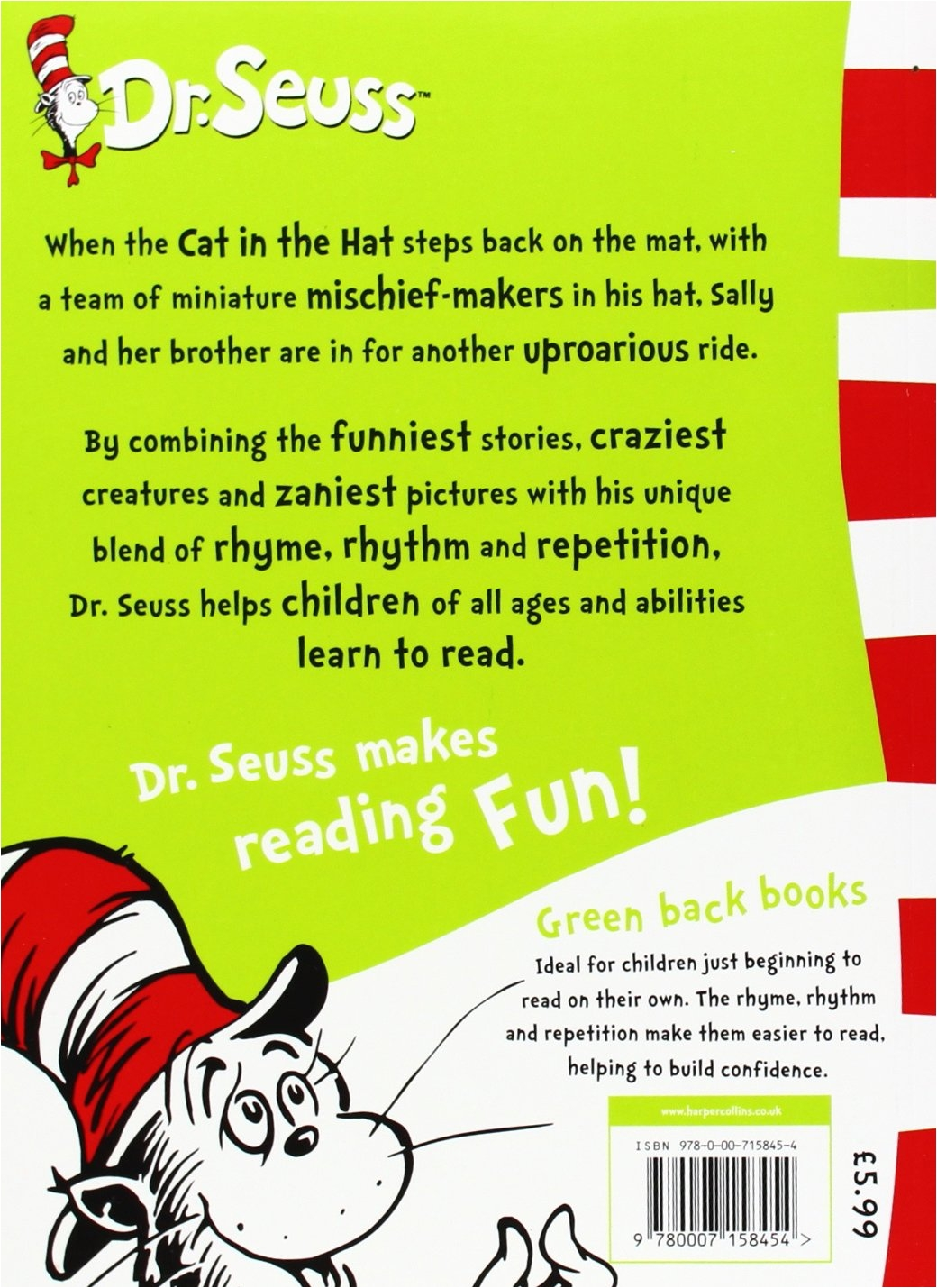 Dr Seuss Rug Uk the Cat In the Hat Comes Back Dr Seuss Green Back Book Amazon