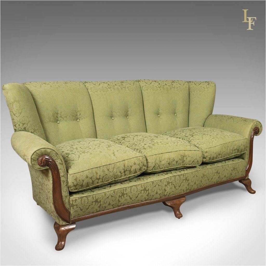 antique sofa english green edwardian 3 seater settee c 1910