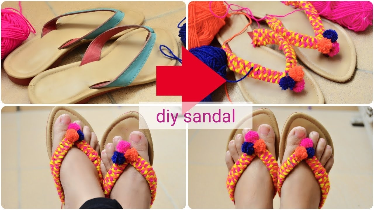 how to convert revamp recycle old sandals flipflop into new diy pom pom sandals chappal