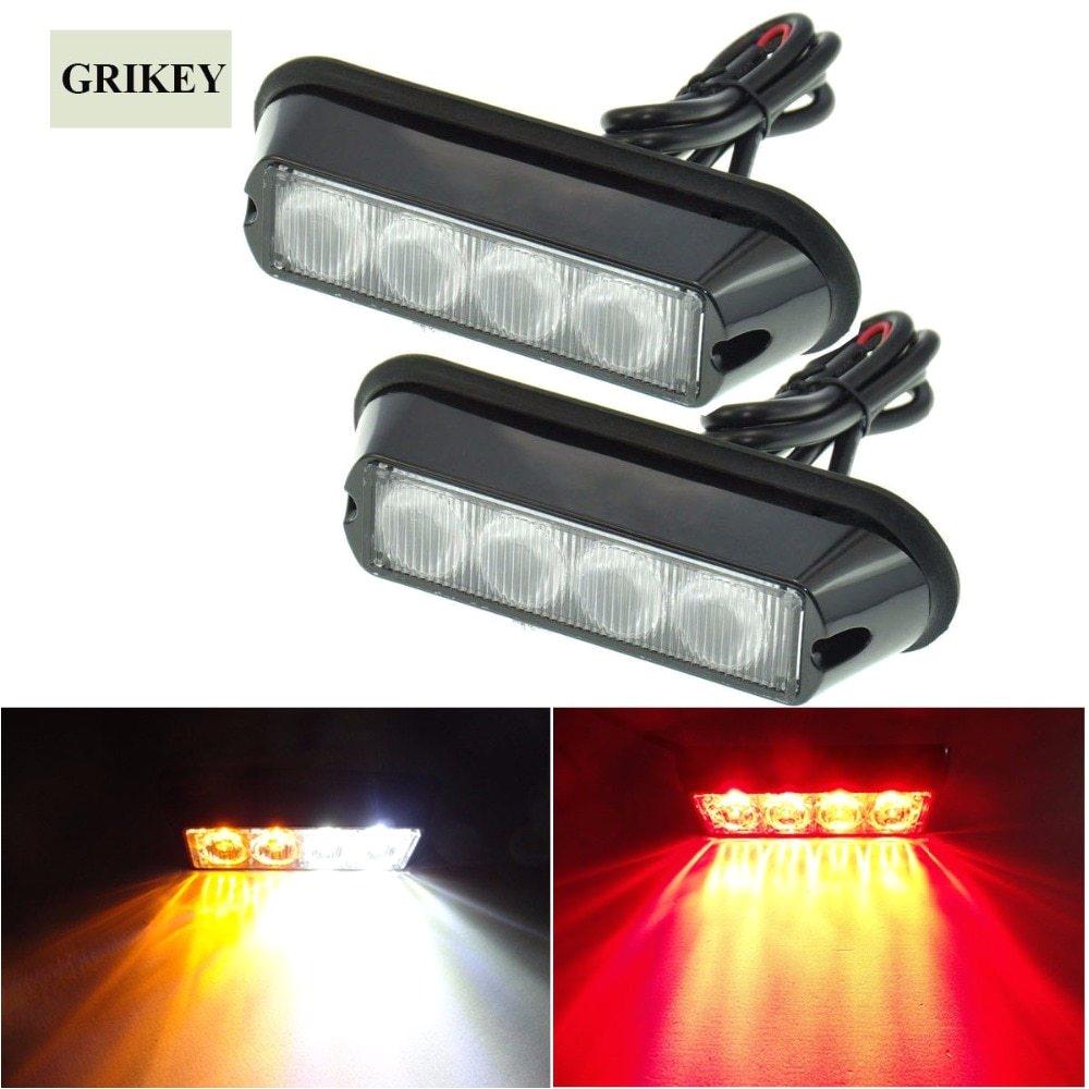 2pcs amber 4 led car warning light flashing lamp emergency beacon light bar hazard strobe light ip62 waterproof light