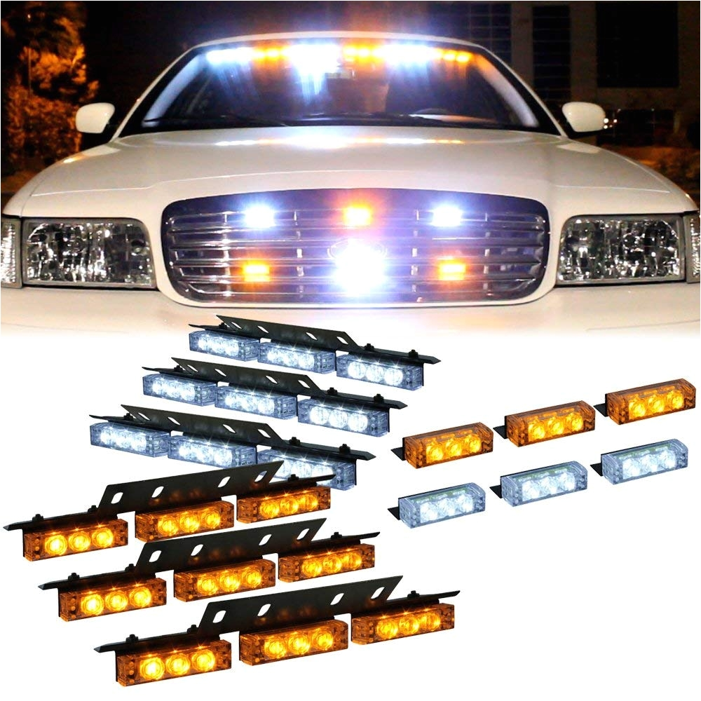 amazon com dt motoa amber white 54x led emergency vehicle deck dash grill warning lights 1 set automotive