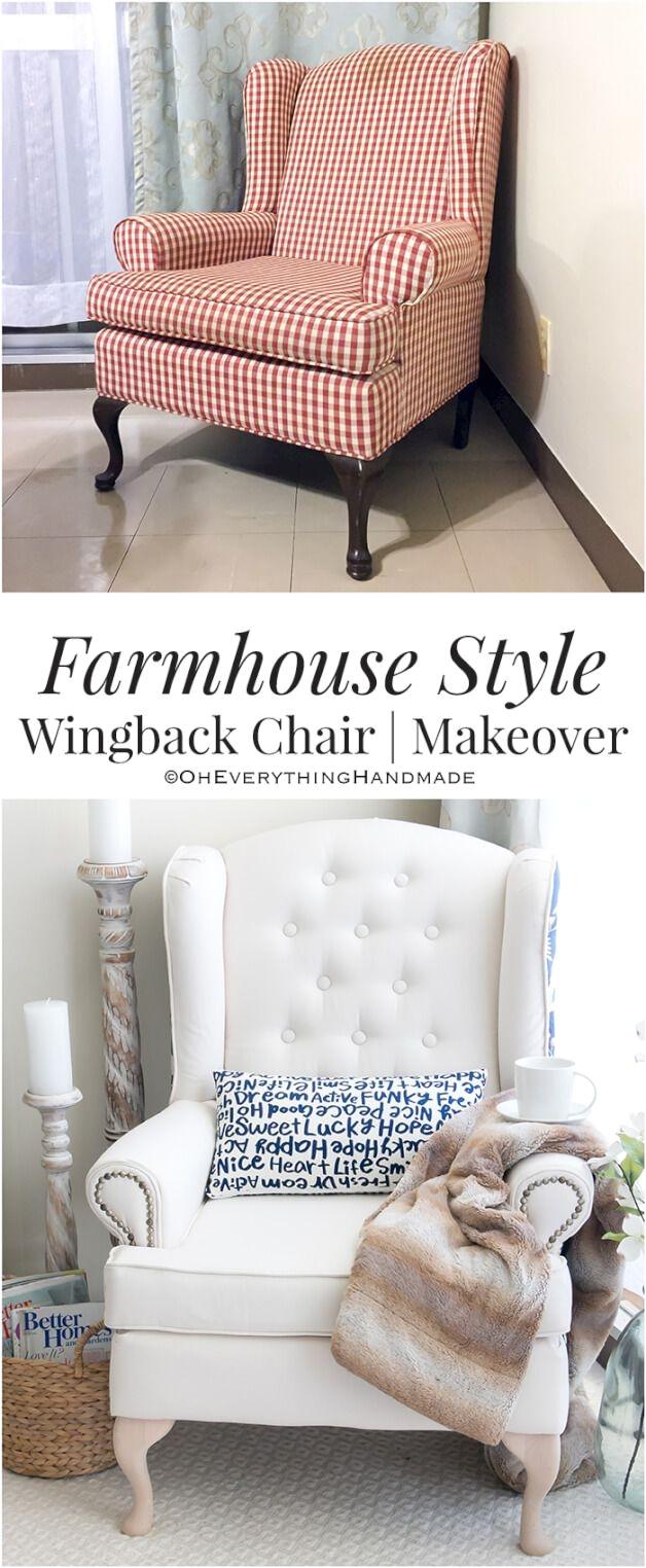 Fainting Chair Slipcover Farmhouse Style Wingback Chair Makeover Chair Makeover Wingback