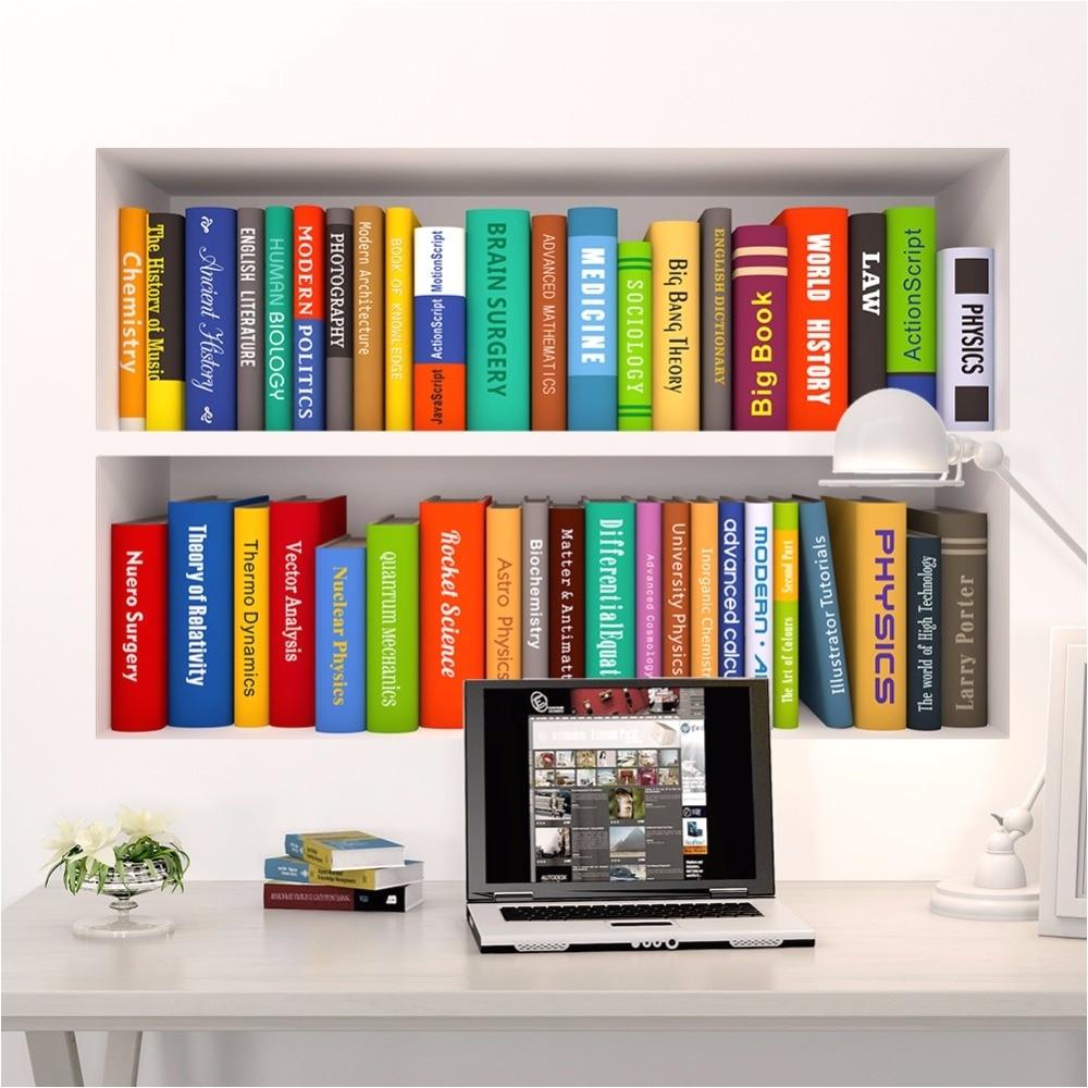 3d book bookshelf funny living room kids bedroom study decorations wall sticker home decor poster mural