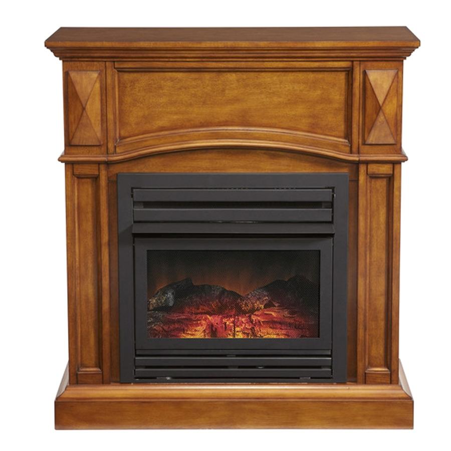 pleasant hearth 35 75 in dual burner vent free heritage oak corner liquid propane