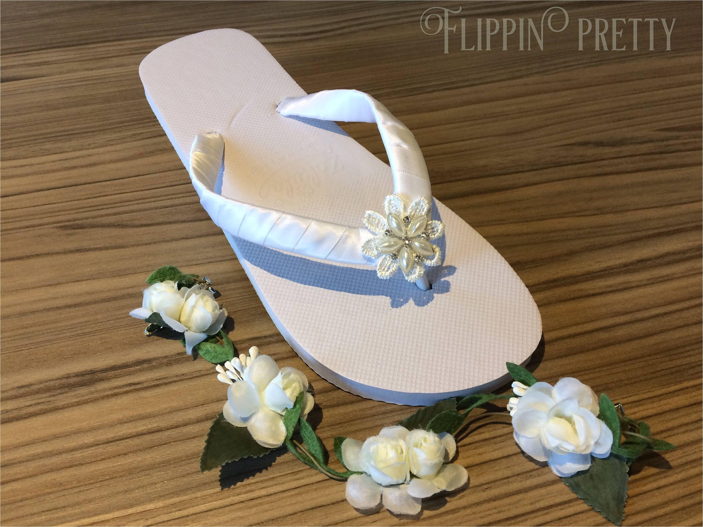 bridal flip flops sandals beach wedding boho wedding flower flip flop diamante pearl flip flops pretty flip flops wedding shoes