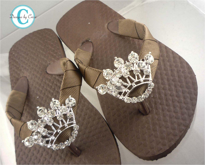 princess crown flip flops bling bridal wedding swarovski rhinestones buckle girls boutique ribbon flip