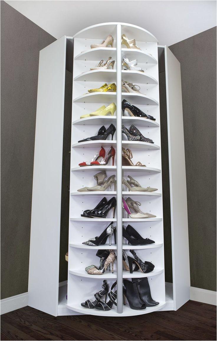 image of rotating shoe rack in corner