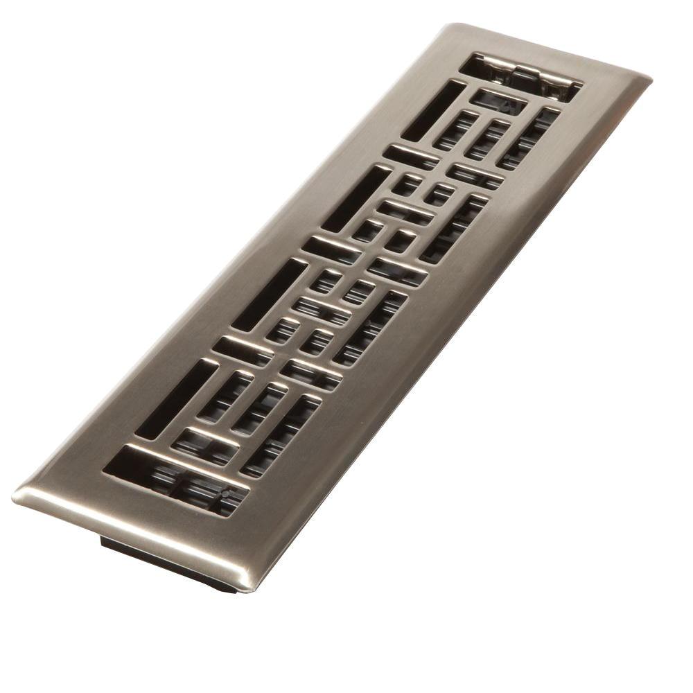steel brushed nickel oriental design floor register