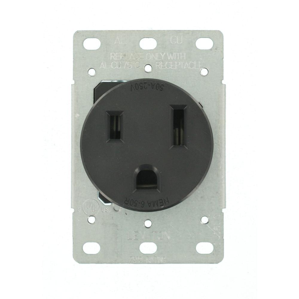 leviton 50 amp 2 pole flush mount shallow single outlet black