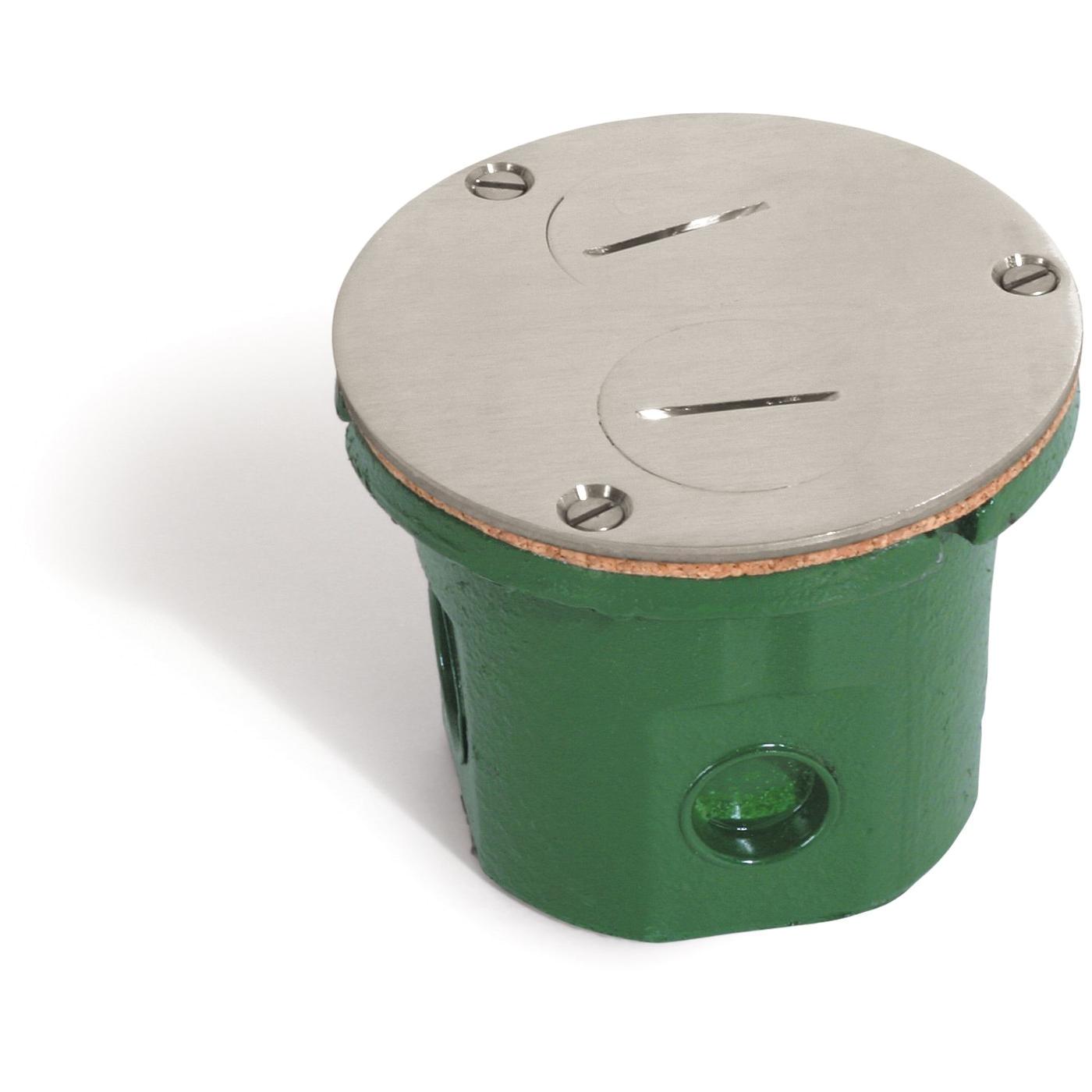 lew electric 812 dfb ns round flush floor box duplex plugs