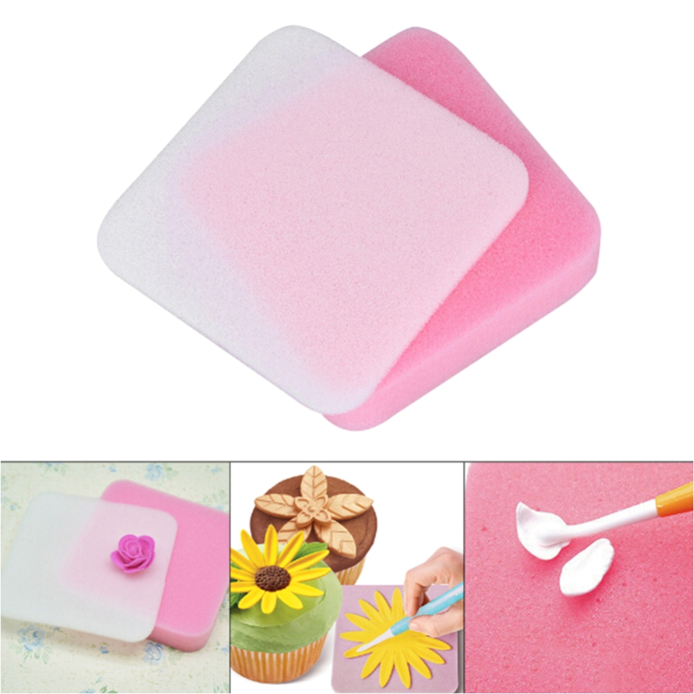 Foam Pads for Gumpaste Flowers 2 Pcs Fondant Cake Sugar Flower Drying Foam Decorating Bakeware tool