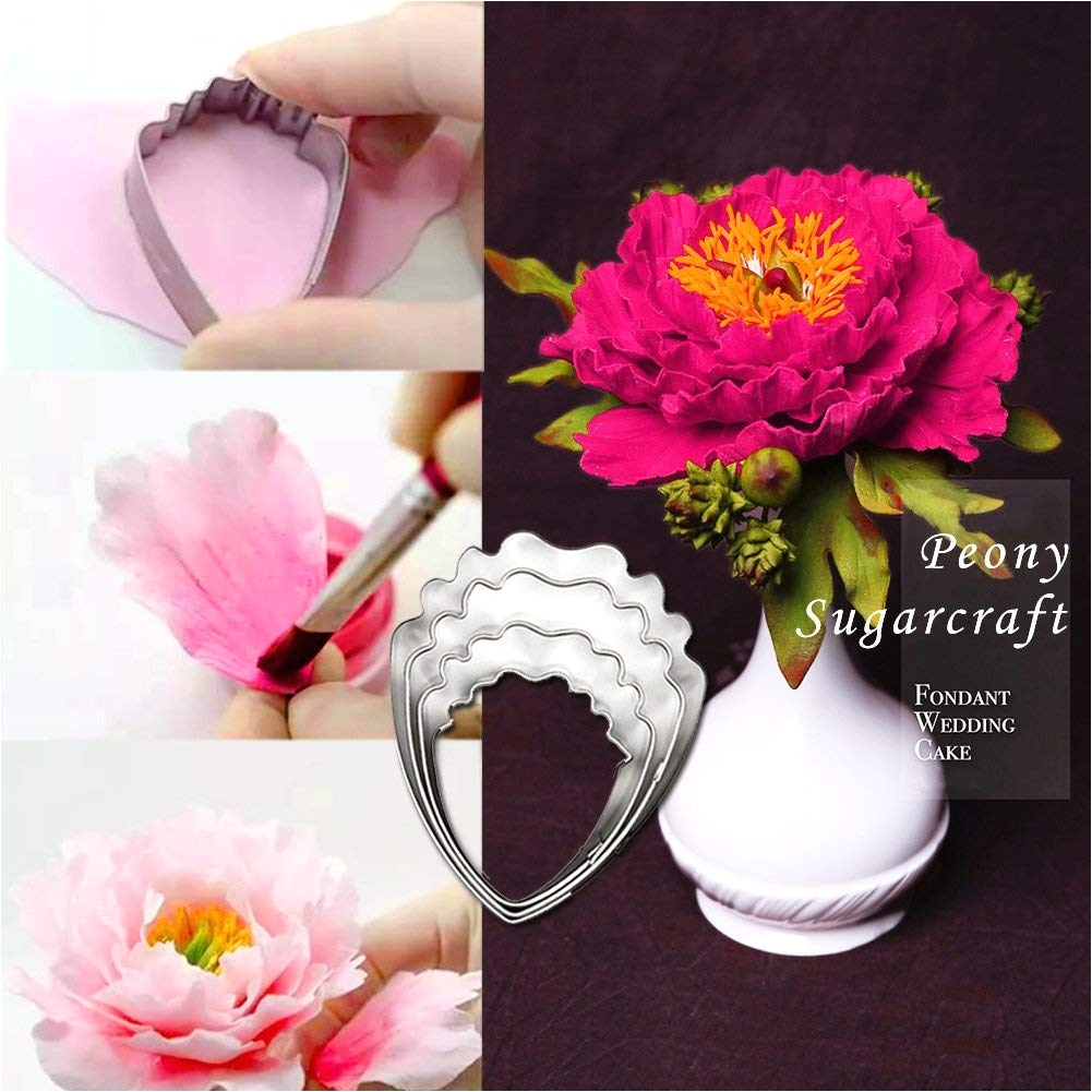 amazon com peony and austen rose sugar flower tool set gumpaste decorating modeling tools set 2 sets stainless steel petal cutter set 10 pcs cake