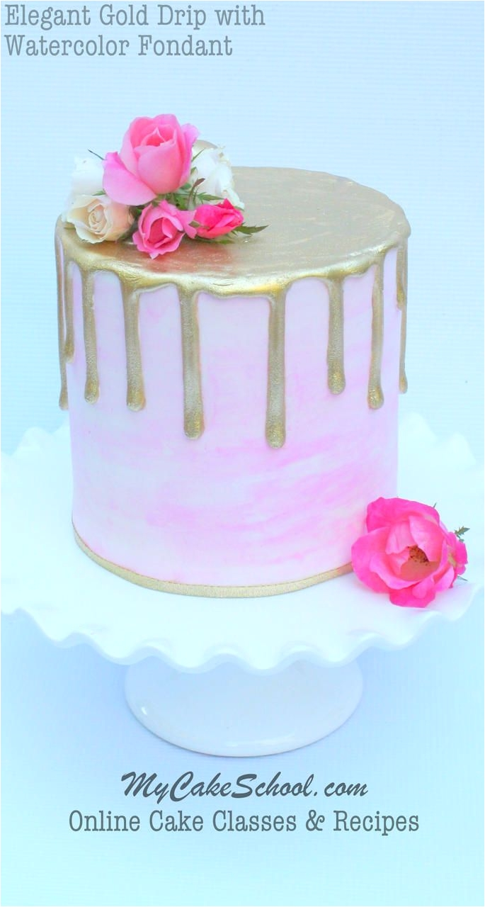 Fondant Cake Decorating Classes Near Me Gold Drip On Watercolor