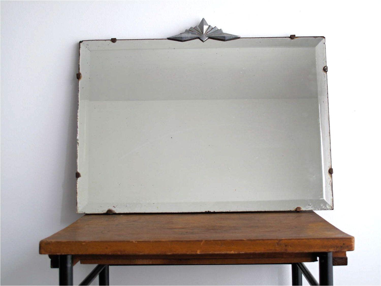 antique art deco wall mirror frameless beveled decorative mirror hanging home 168 00 via etsy