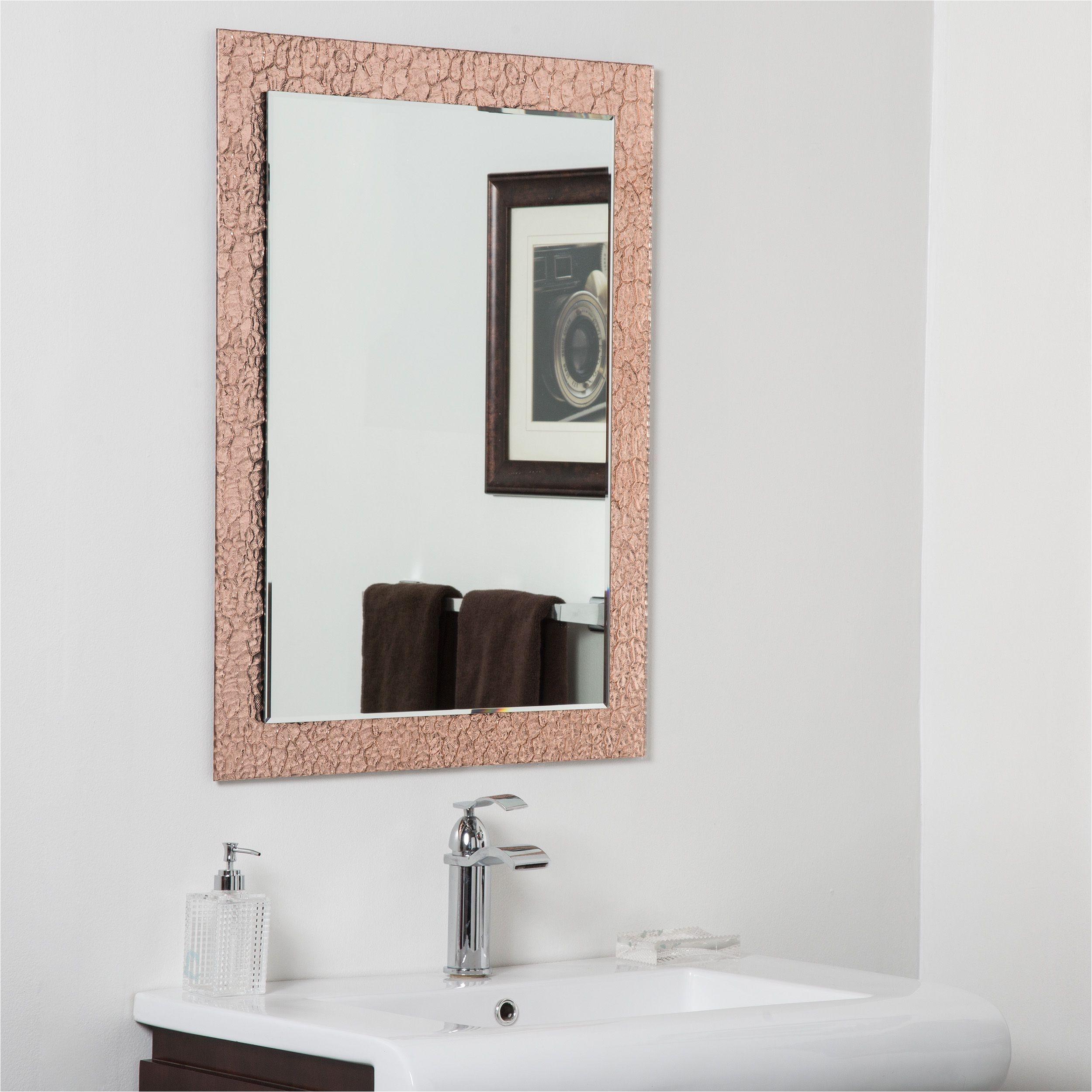 Frameless Mirror Clips Decorative Copper Brown Leaf Modern Bathroom ...
