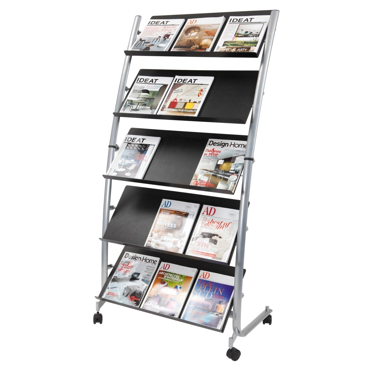 Free Standing Rotating Magazine Rack Alba Large Mobile Literature Display 5 Levels Work tools Pinterest