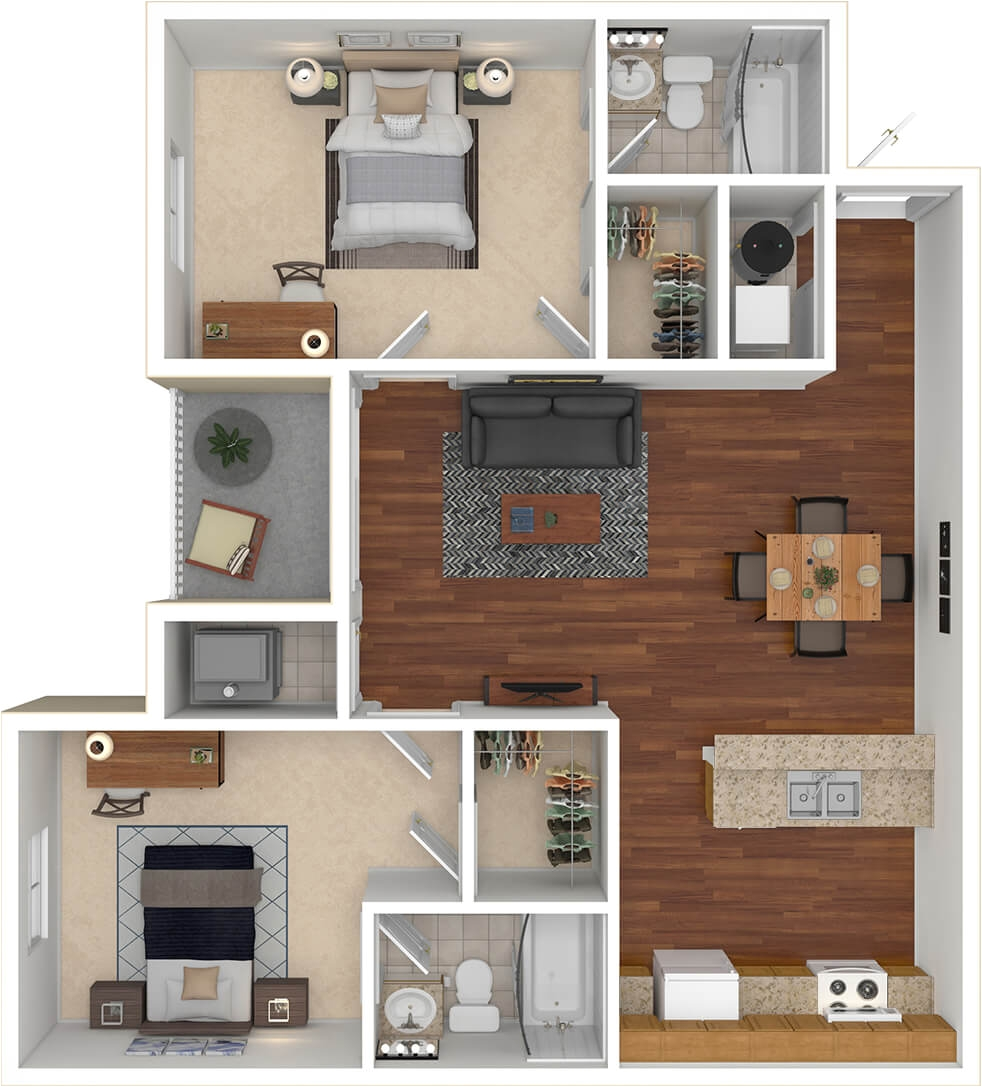 west run s 2 bedroom 2 bathroom 2x2 floorplan featuring 865 square foot open