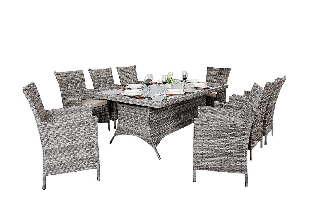 http www bonsoni com bonsoni rectangle dining set 6 piece colour black includes a rectangular glass top table six chairs and a parasol rattan gar
