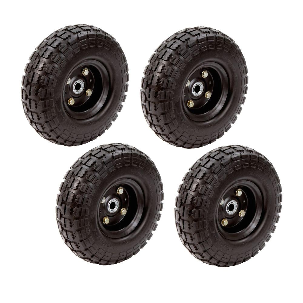 Garden Cart Replacement Wheels 10 In No Flat Tire 4 Pack Fr1030 the Home Depot
