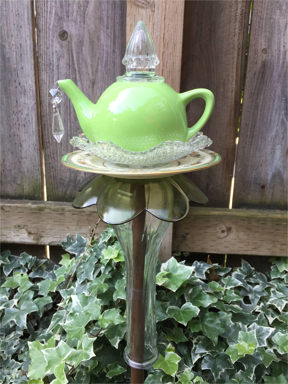 tea pot totem garden art vintage glass yard art by fancysgarden on etsy