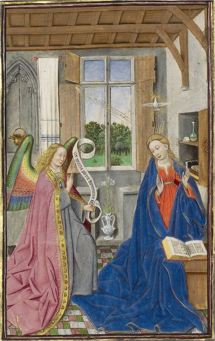 the annunciation c 1450s from the llangattock hours by an illuminator who
