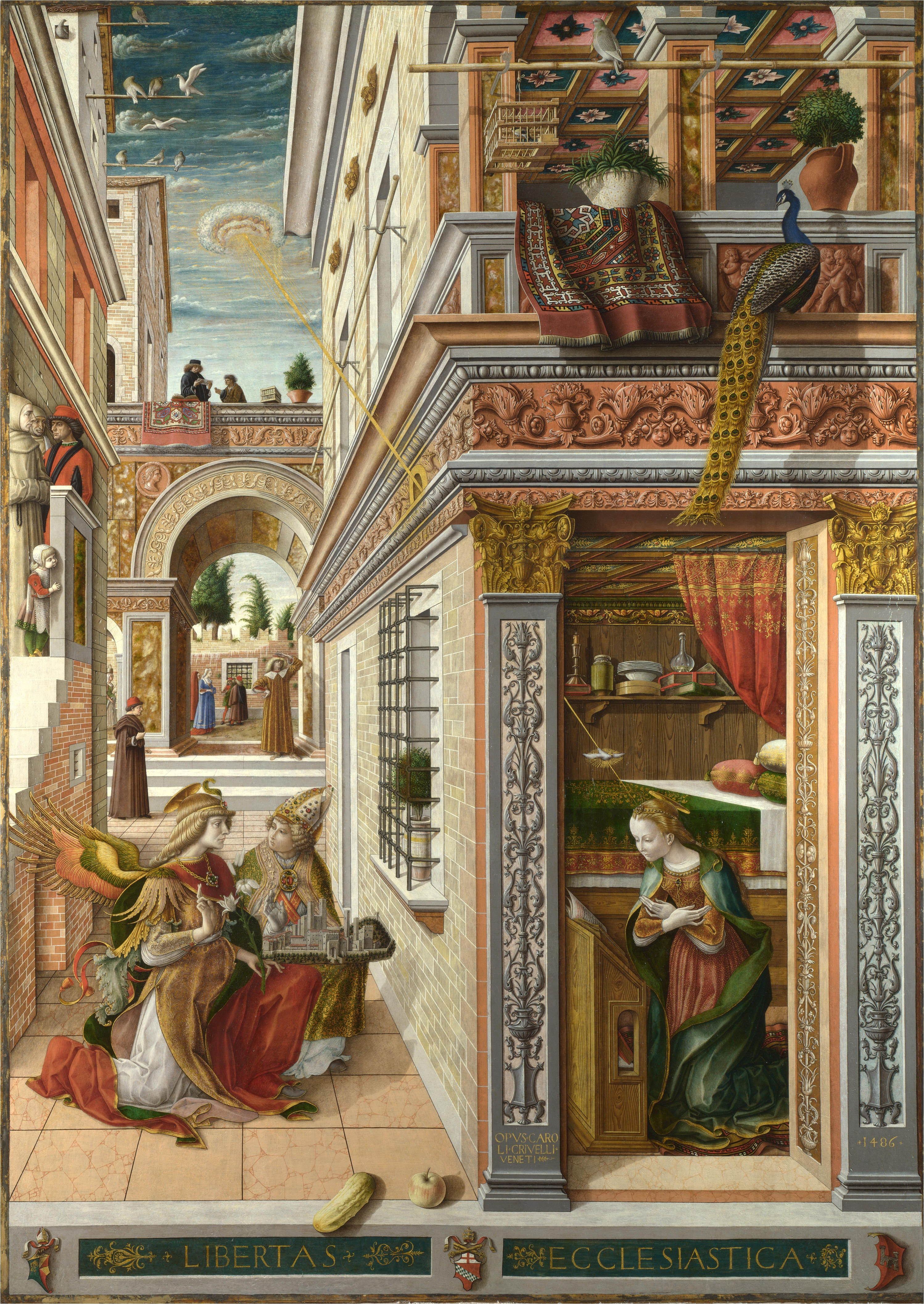 left image carlo crivelli s annunciation with st emidius 1486 with crivelli carpet in the upper left corner see enlarged detail at left
