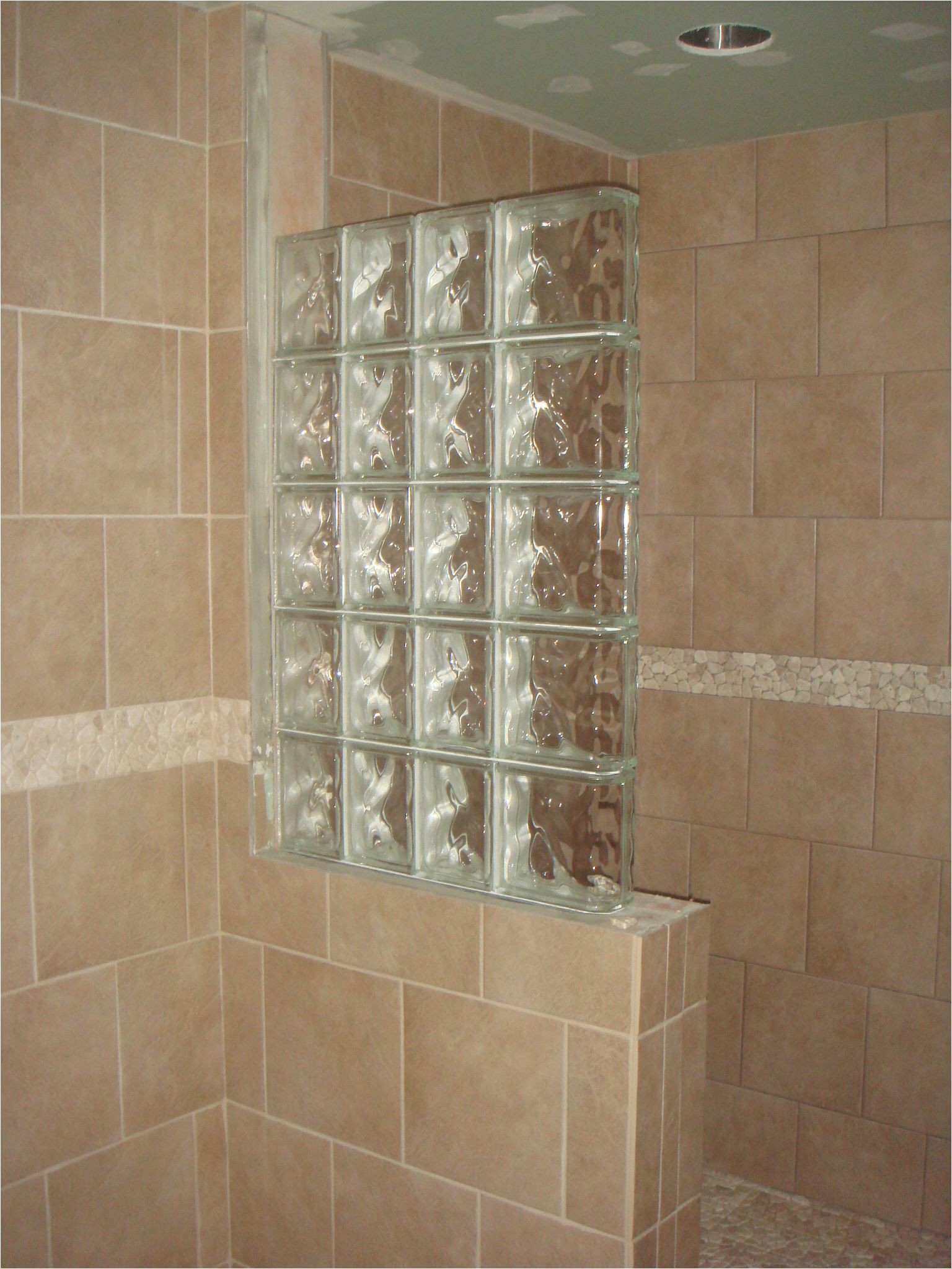 Glass Blocks For Showers Half Wall Shower Design An Addition Some