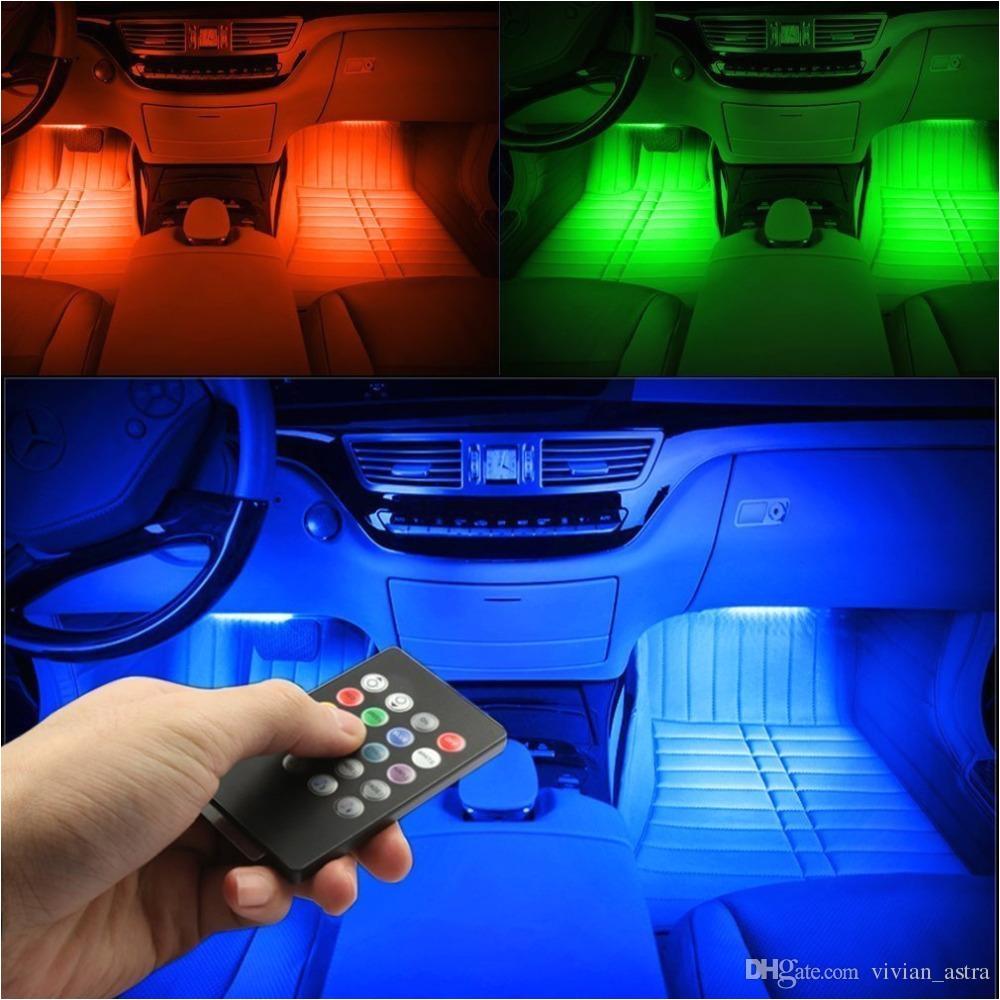 rgb light 48led usb music sound active car interior led strips light dc12v auto atmosphere lights
