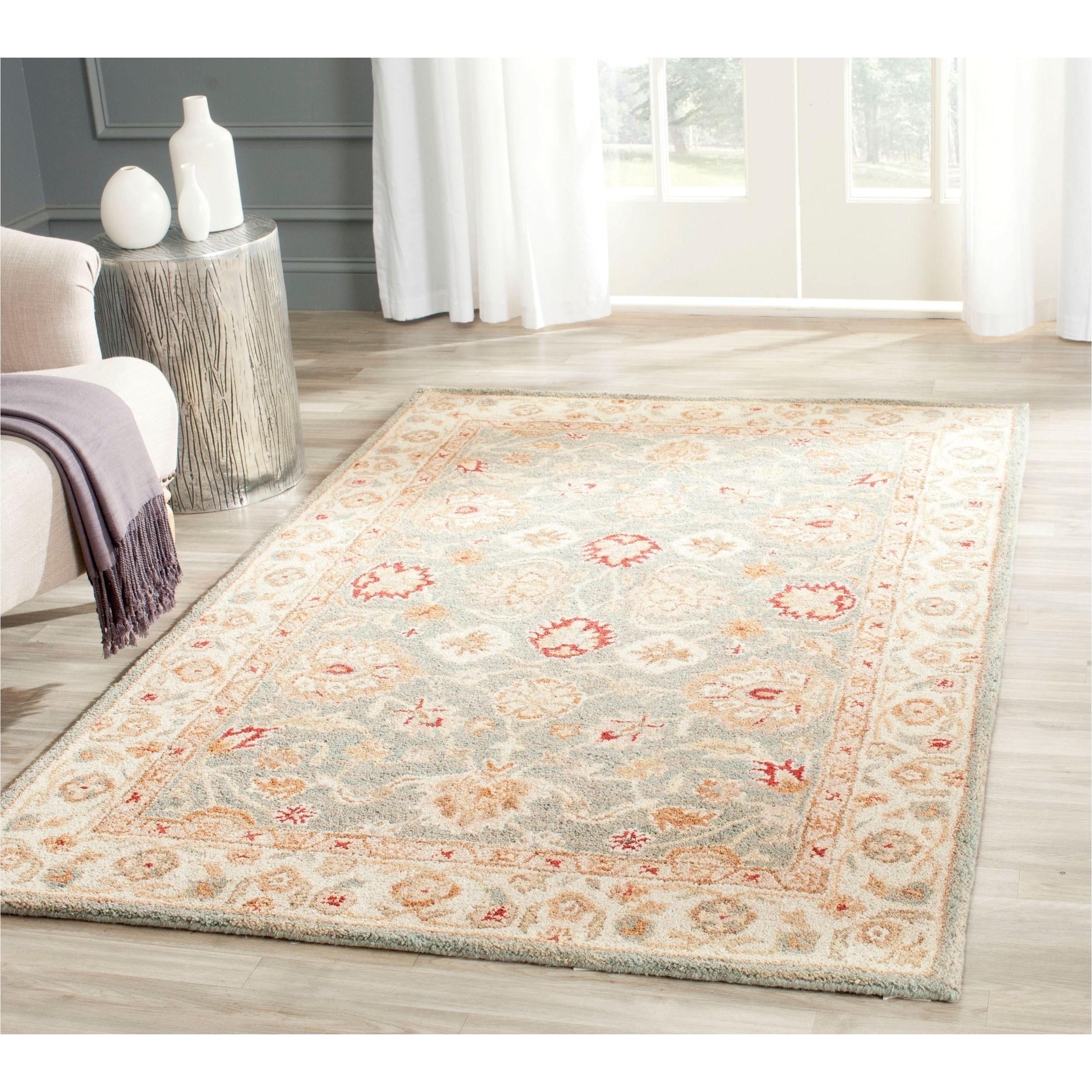 safavieh handmade antiquity grey beige wool rug 4 x 6 at822a 4 size 4 x 6