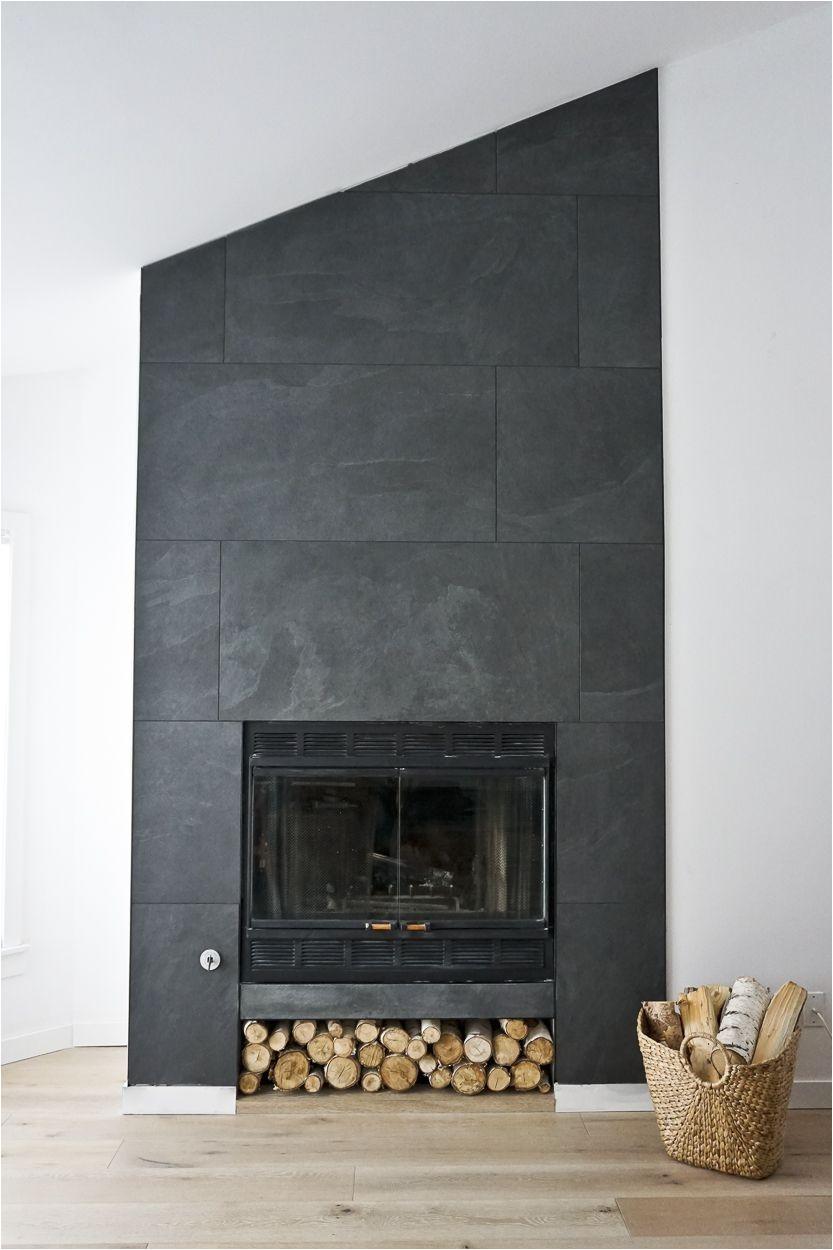 large scale dark floor to ceiling tile