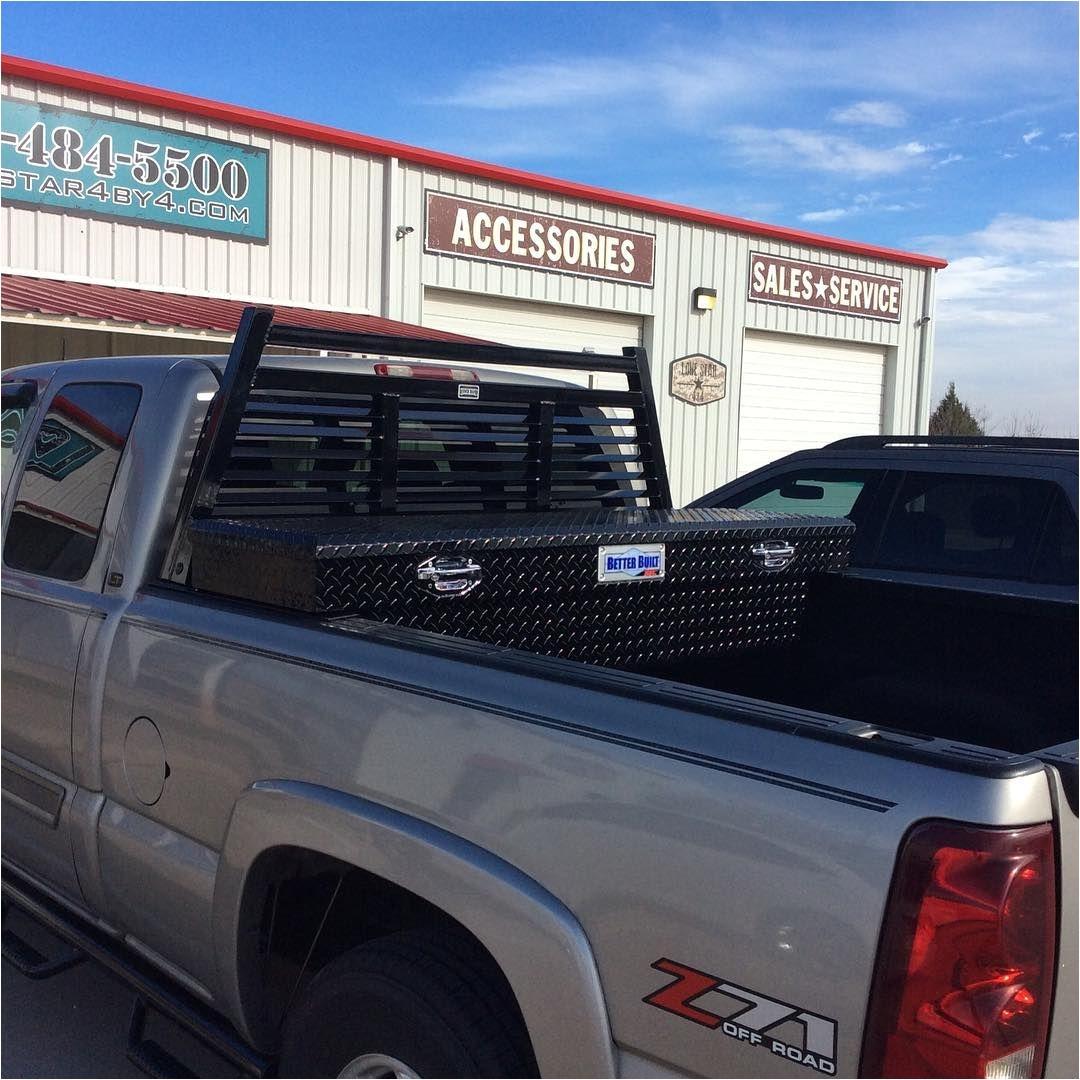 installed ranch hand louverd headache rack and better built black tool box headacherack toolbox follow lonestar4x4