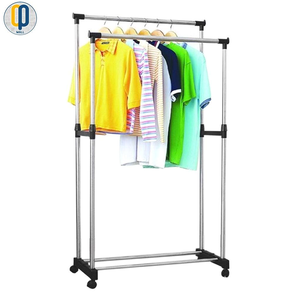 double pole telescopic clothes rack