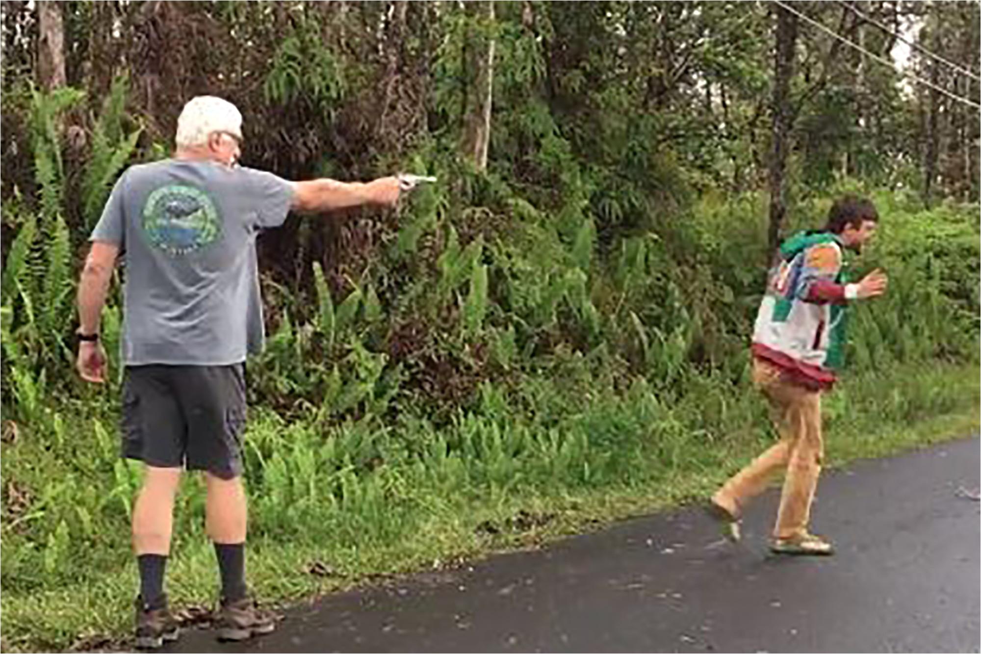 hawaiian man pulls gun on neighbor who went to check on lava threatened home