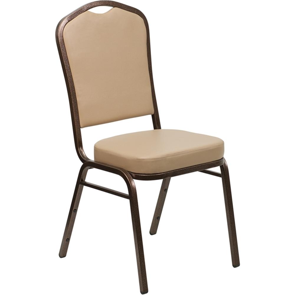 Hercules Vinyl Stacking Chairs Hercules Series Crown Back Stacking Banquet Chair In Tan Vinyl