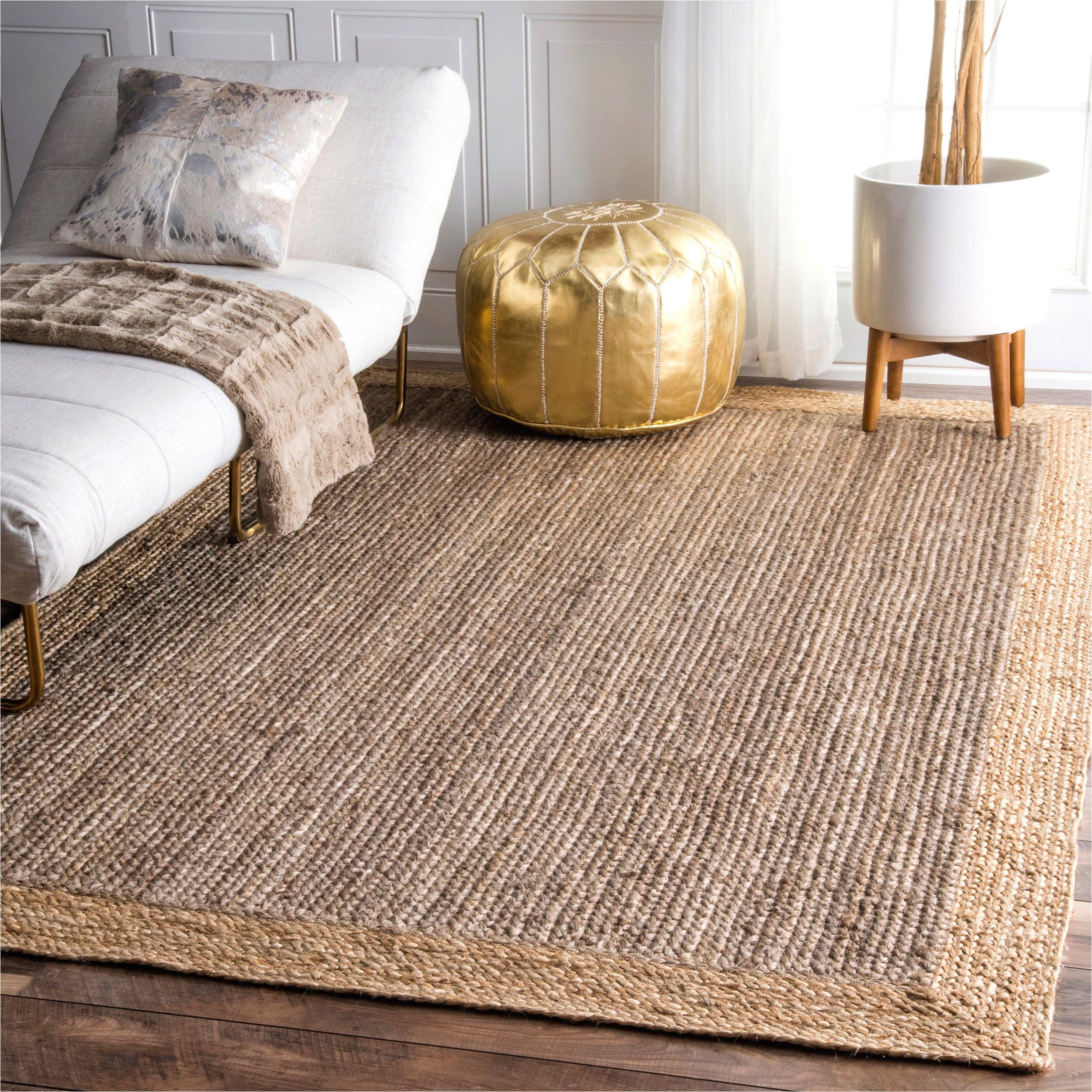 nuloom alexa eco natural fiber braided reversible border jute grey rug 5 x 8 grey beige size 5 x 8