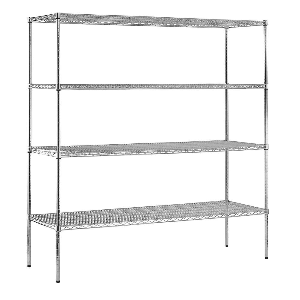 Home Depot Wire Rack Shelf Sandusky 74 In H X 72 In W X 18 In D 4 Shelf Chrome Wire