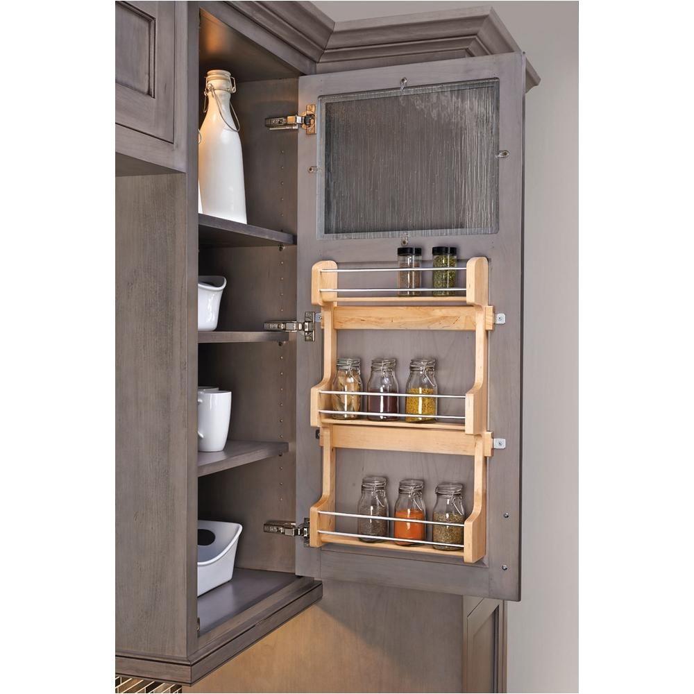 rev a shelf 21 5 in h x 13 5 in w x 3 12 in d medium cabinet door mount wood 3 shelf spice rack 4sr 18 the home depot