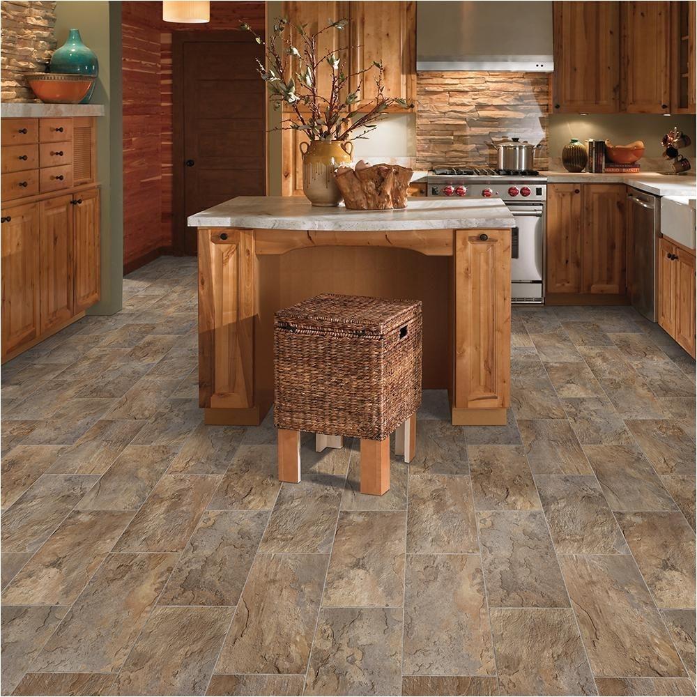 trafficmaster rectangular offset slate brown grey 13 2 ft wide x your choice length residential vinyl sheet flooring c4970185k945p15 the home depot