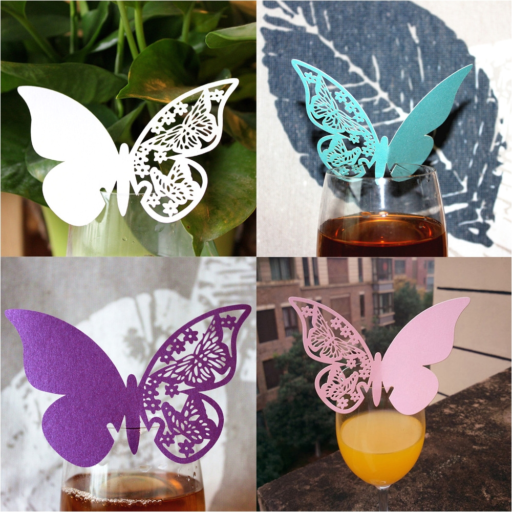 50pcs pack butterfly place escort wine glass paper card for wedding party bar club decorations romantic wine glass cups decor in party diy decorations from