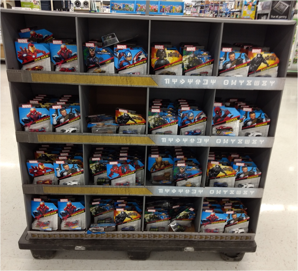 marvel character car display at walmart