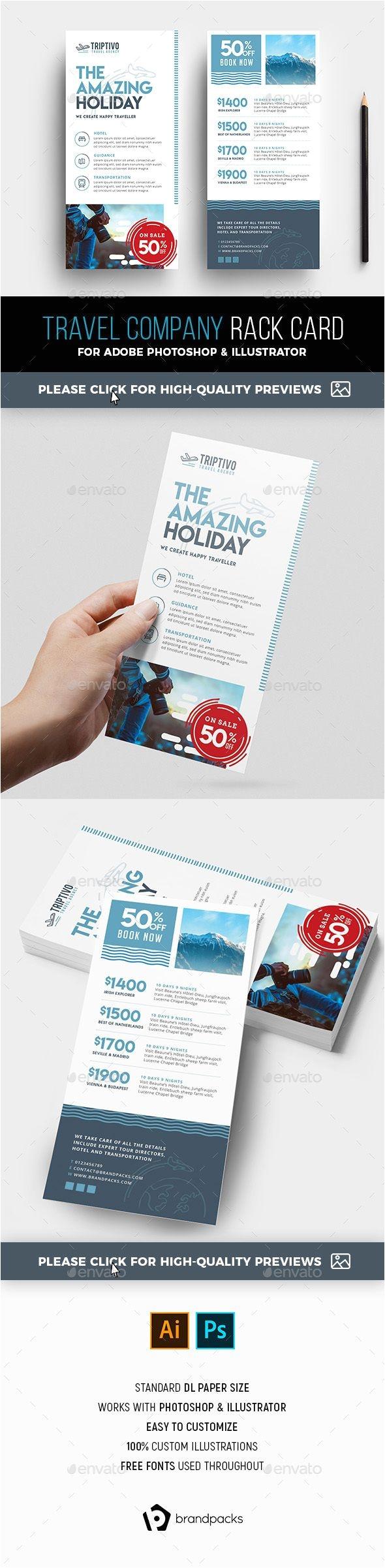 dl travel company rack card template psd ai
