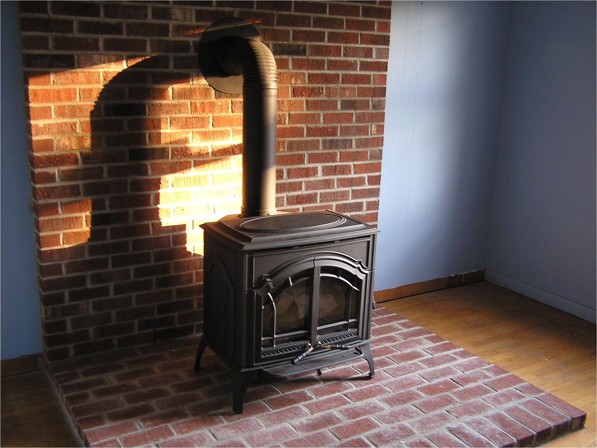 brick work around wood burning stove