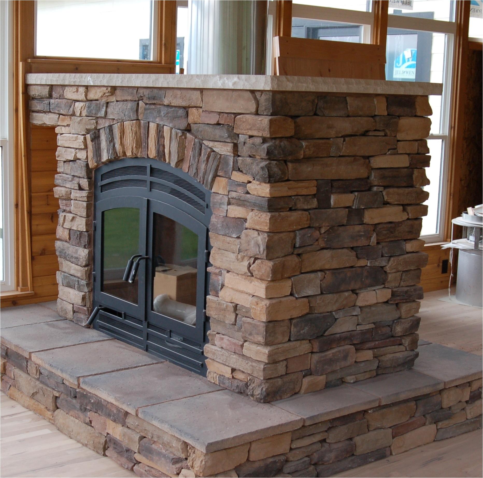 wood burning two sided fireplace