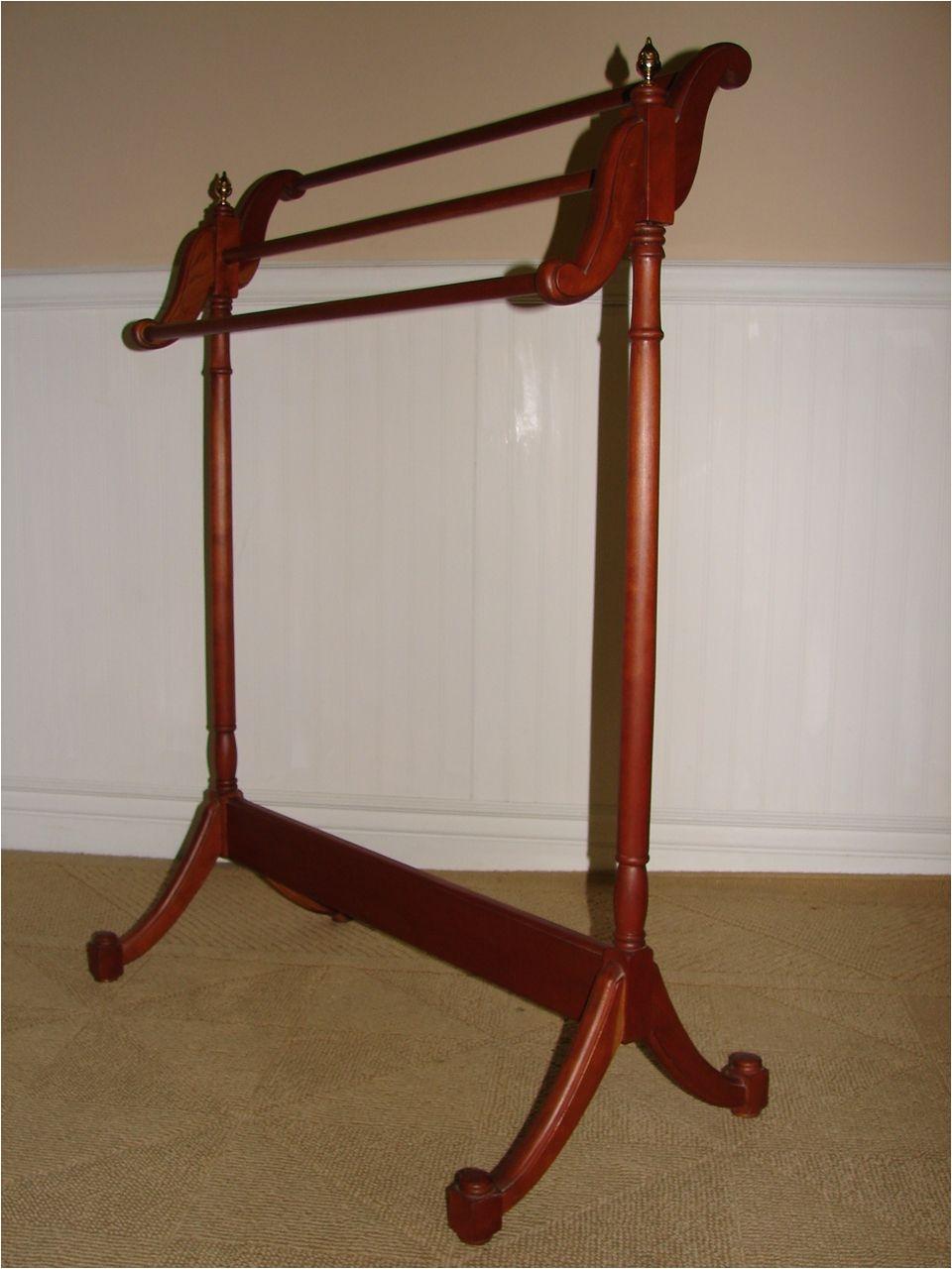 vintage cherry quilt rack quilt stand valet with brass finials robert w zerbe