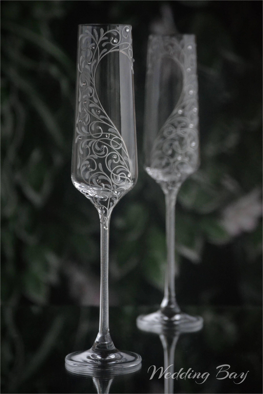 wedding champagne glasses bride and groom flutes hand painted flutes swarovski stones